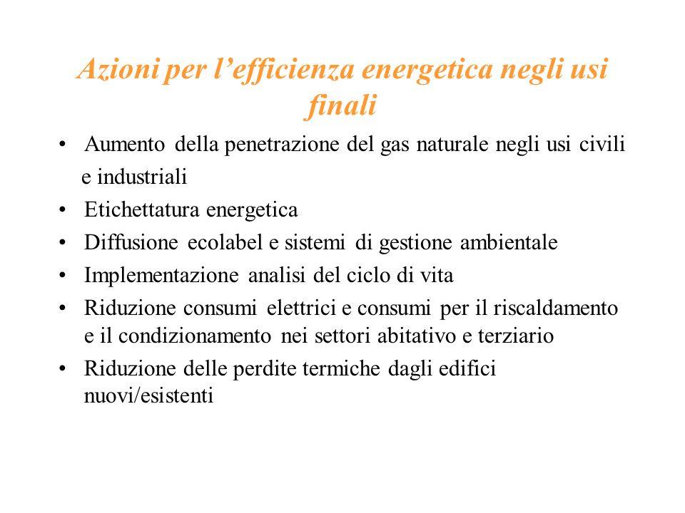 Azioni per lefficienza energetica negli usi finali Aumento della penetrazione del gas naturale negli usi civili e industriali Etichettatura energetica