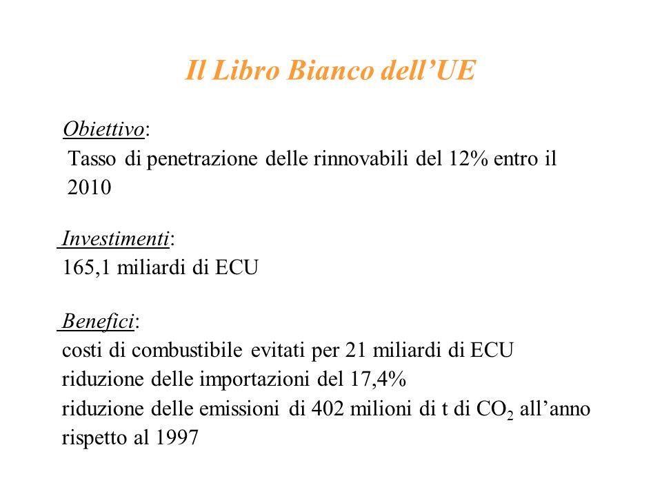 Il Libro Bianco dellUE Obiettivo: Tasso di penetrazione delle rinnovabili del 12% entro il 2010 Investimenti: 165,1 miliardi di ECU Benefici: costi di