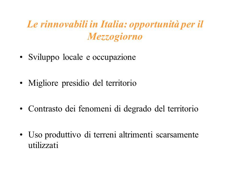 Le rinnovabili in Italia: opportunità per il Mezzogiorno Sviluppo locale e occupazione Migliore presidio del territorio Contrasto dei fenomeni di degr