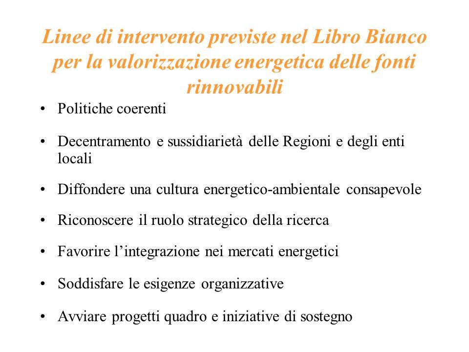 Linee di intervento previste nel Libro Bianco per la valorizzazione energetica delle fonti rinnovabili Politiche coerenti Decentramento e sussidiariet