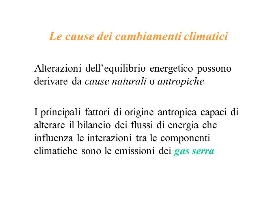 Le cause dei cambiamenti climatici Alterazioni dellequilibrio energetico possono derivare da cause naturali o antropiche I principali fattori di origi