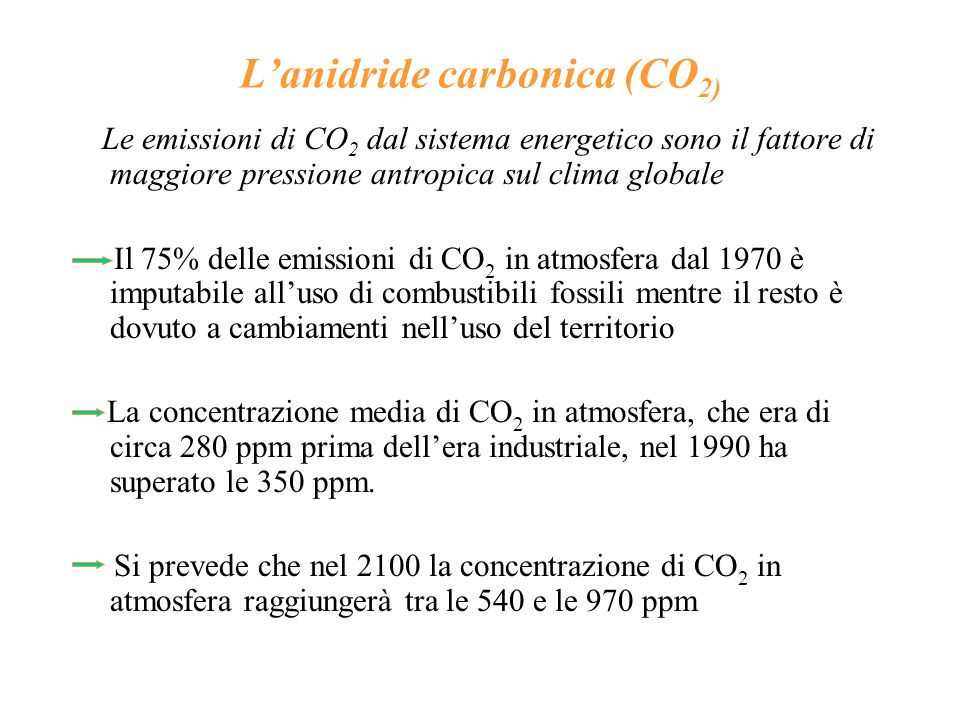 Le emissioni di gas serra in Italia Il peso dellItalia rispetto alle emissioni globali di gas-serra è di circa il 2% La CO 2 è il gas-serra che fornisce il contributo maggiore alle emissioni nazionali Nel 1990 lItalia ha emesso 548 MtCO 2 equivalenti, costituite per l80,6% da CO 2, per il 9,5% da CH 4, per il 9,9% da N 2 O