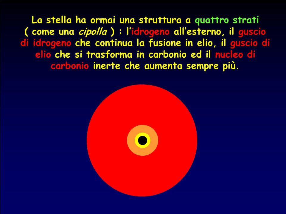 La stella ha ormai una struttura a quattro strati ( come una cipolla ) : lidrogeno allesterno, il guscio di idrogeno che continua la fusione in elio,
