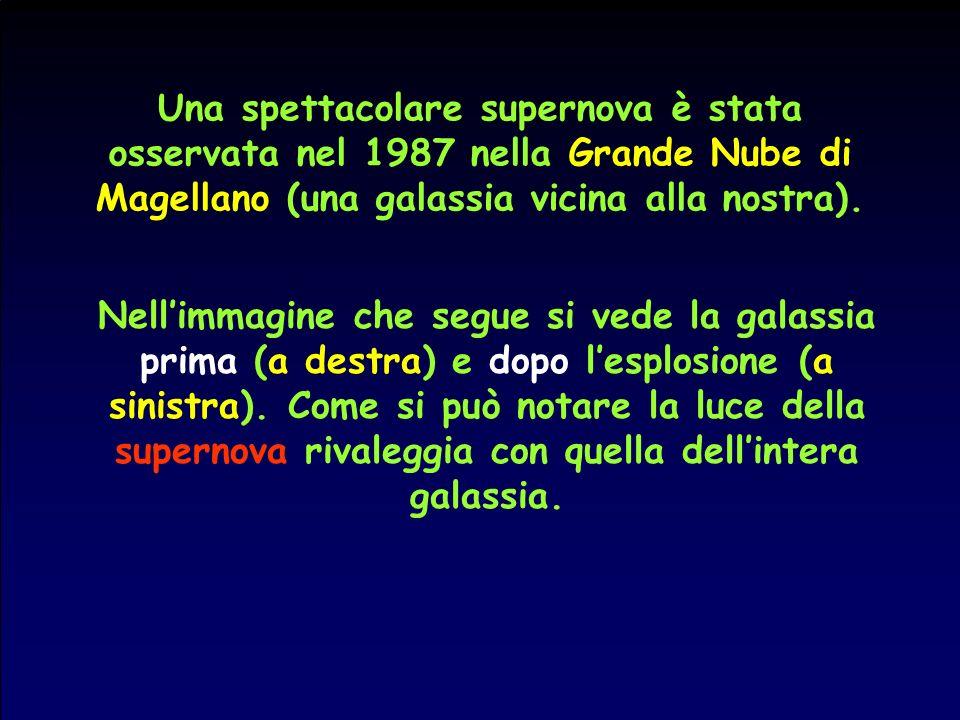 Una spettacolare supernova è stata osservata nel 1987 nella Grande Nube di Magellano (una galassia vicina alla nostra). Nellimmagine che segue si vede