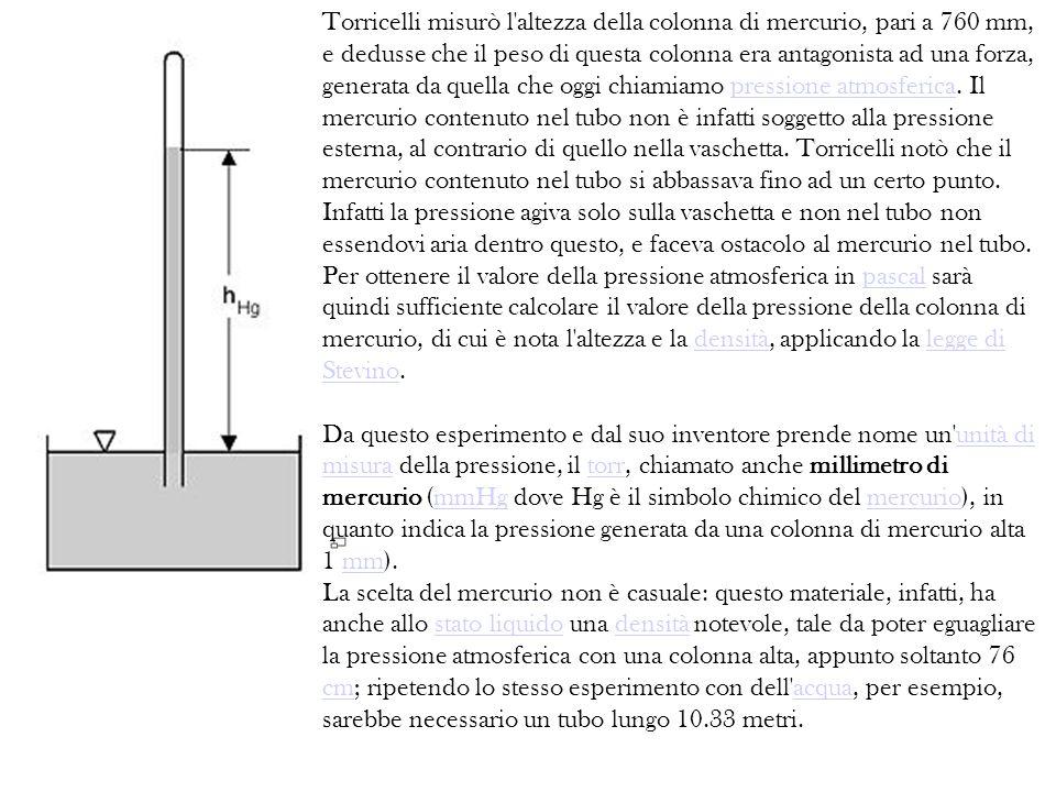 Torricelli misurò l altezza della colonna di mercurio, pari a 760 mm, e dedusse che il peso di questa colonna era antagonista ad una forza, generata da quella che oggi chiamiamo pressione atmosferica.