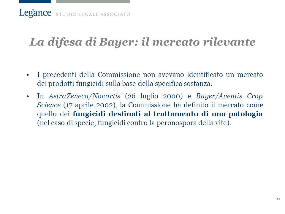 12 La difesa di Bayer: il mercato rilevante I precedenti della Commissione non avevano identificato un mercato dei prodotti fungicidi sulla base della specifica sostanza.