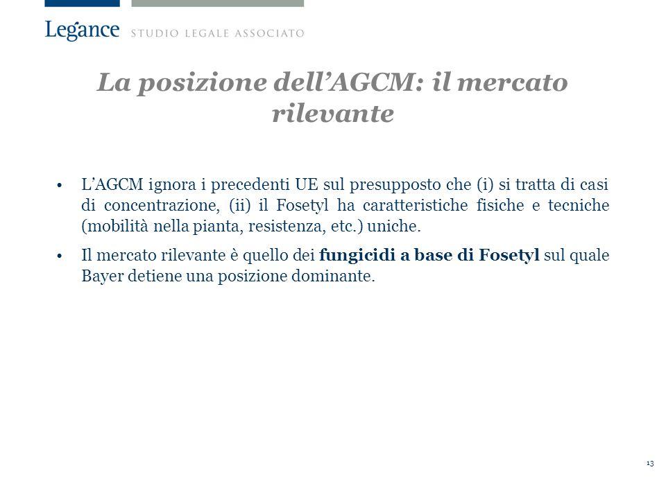 13 LAGCM ignora i precedenti UE sul presupposto che (i) si tratta di casi di concentrazione, (ii) il Fosetyl ha caratteristiche fisiche e tecniche (mobilità nella pianta, resistenza, etc.) uniche.