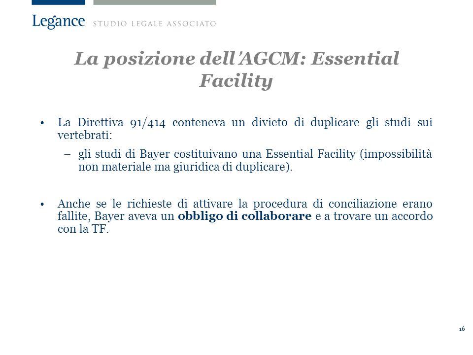 16 La Direttiva 91/414 conteneva un divieto di duplicare gli studi sui vertebrati: –gli studi di Bayer costituivano una Essential Facility (impossibilità non materiale ma giuridica di duplicare).