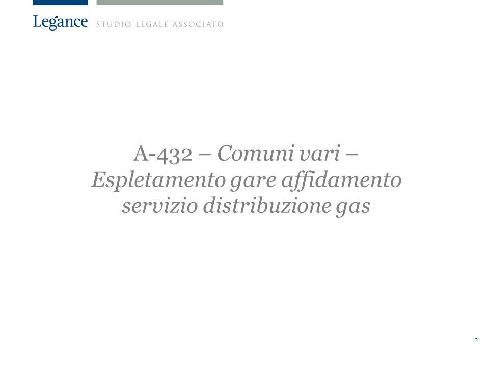 21 A-432 – Comuni vari – Espletamento gare affidamento servizio distribuzione gas