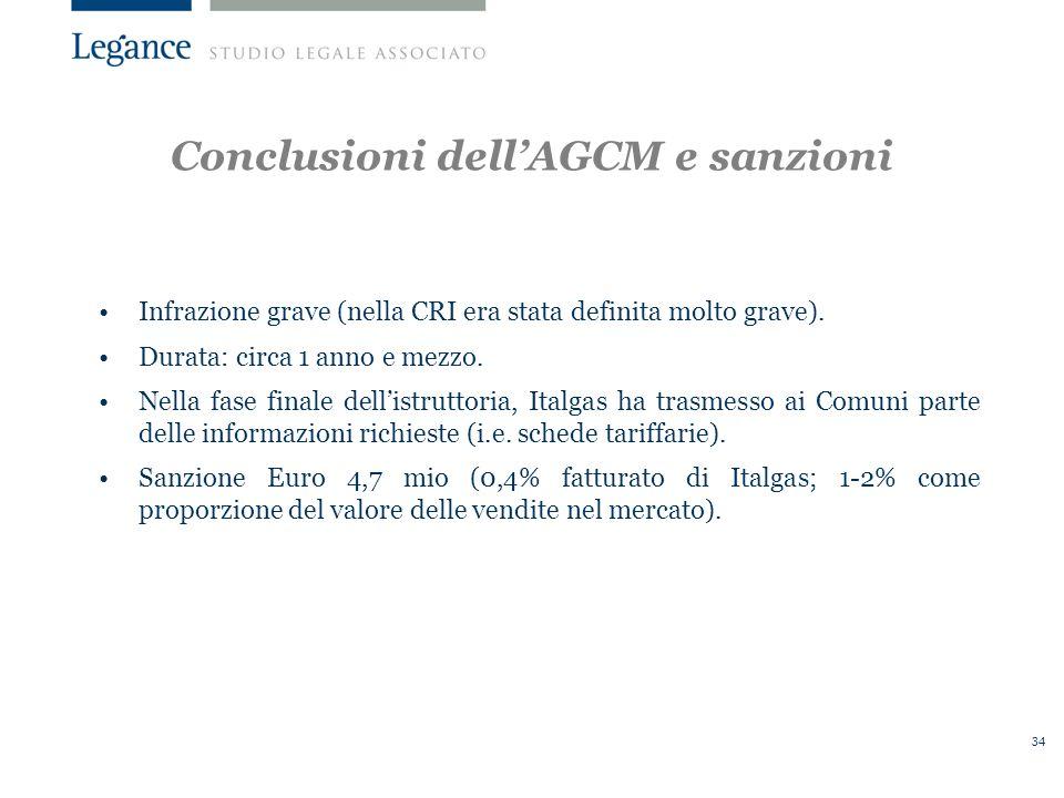 34 Conclusioni dellAGCM e sanzioni Infrazione grave (nella CRI era stata definita molto grave).