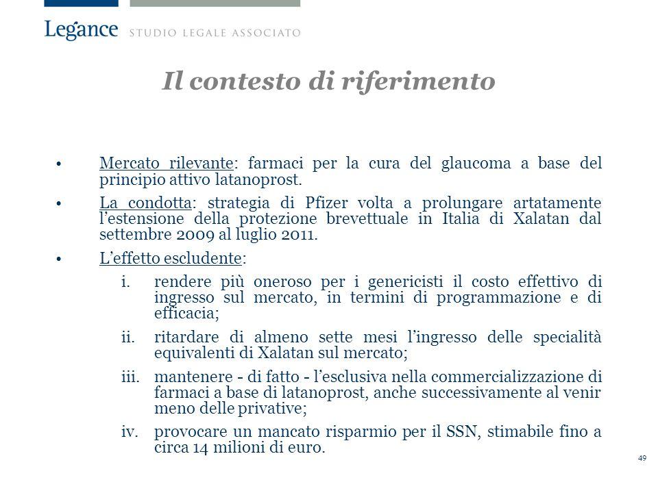 49 Il contesto di riferimento Mercato rilevante: farmaci per la cura del glaucoma a base del principio attivo latanoprost.
