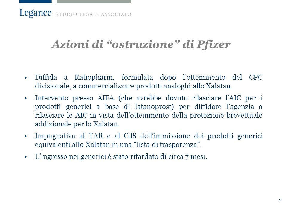 51 Azioni di ostruzione di Pfizer Diffida a Ratiopharm, formulata dopo lottenimento del CPC divisionale, a commercializzare prodotti analoghi allo Xalatan.