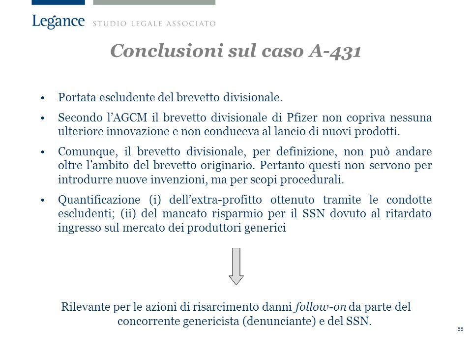 55 Conclusioni sul caso A-431 Portata escludente del brevetto divisionale.