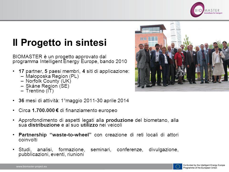 Il Progetto in sintesi BIOMASTER è un progetto approvato dal programma Intelligent Energy Europe, bando 2010 17 partner, 5 paesi membri, 4 siti di app
