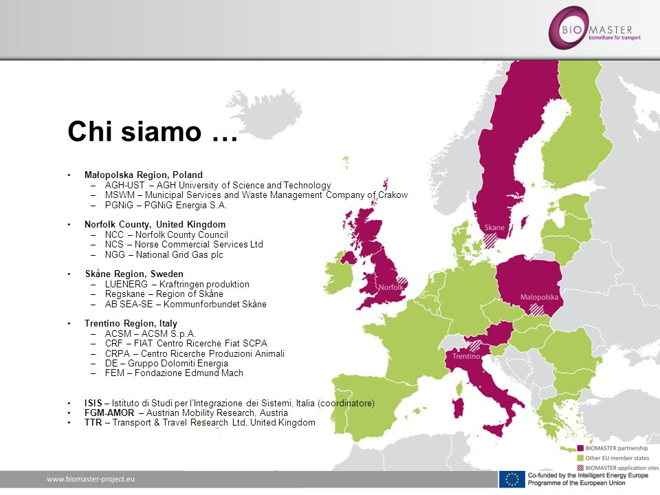 Chi siamo … Małopolska Region, Poland –AGH-UST – AGH University of Science and Technology –MSWM – Municipal Services and Waste Management Company of Crakow –PGNiG – PGNiG Energia S.A.