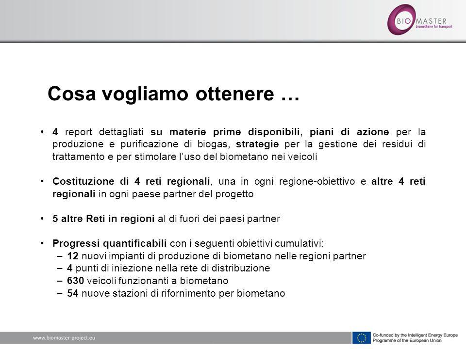 Cosa vogliamo ottenere … 4 report dettagliati su materie prime disponibili, piani di azione per la produzione e purificazione di biogas, strategie per la gestione dei residui di trattamento e per stimolare luso del biometano nei veicoli Costituzione di 4 reti regionali, una in ogni regione-obiettivo e altre 4 reti regionali in ogni paese partner del progetto 5 altre Reti in regioni al di fuori dei paesi partner Progressi quantificabili con i seguenti obiettivi cumulativi: –12 nuovi impianti di produzione di biometano nelle regioni partner –4 punti di iniezione nella rete di distribuzione –630 veicoli funzionanti a biometano –54 nuove stazioni di rifornimento per biometano