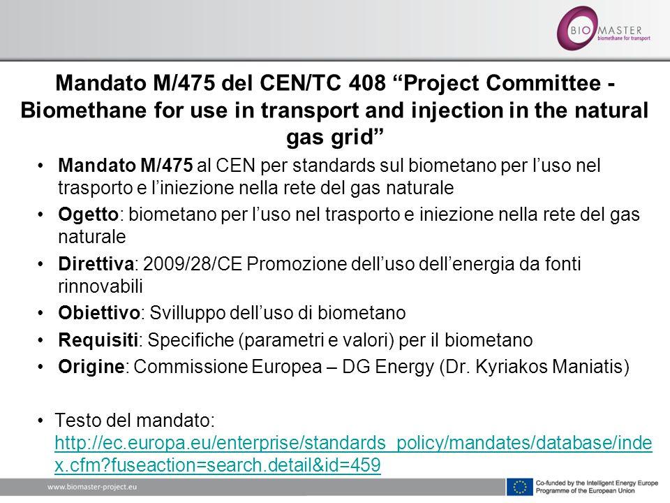 Mandato M/475 al CEN per standards sul biometano per luso nel trasporto e liniezione nella rete del gas naturale Ogetto: biometano per luso nel trasporto e iniezione nella rete del gas naturale Direttiva: 2009/28/CE Promozione delluso dellenergia da fonti rinnovabili Obiettivo: Svilluppo delluso di biometano Requisiti: Specifiche (parametri e valori) per il biometano Origine: Commissione Europea – DG Energy (Dr.