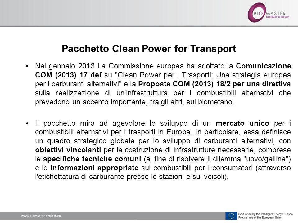 Nel gennaio 2013 La Commissione europea ha adottato la Comunicazione COM (2013) 17 def su Clean Power per i Trasporti: Una strategia europea per i carburanti alternativi e la Proposta COM (2013) 18/2 per una direttiva sulla realizzazione di un infrastruttura per i combustibili alternativi che prevedono un accento importante, tra gli altri, sul biometano.