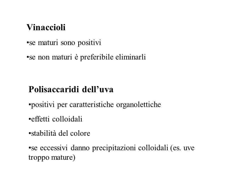 Polisaccaridi delluva positivi per caratteristiche organolettiche effetti colloidali stabilità del colore se eccessivi danno precipitazioni colloidali