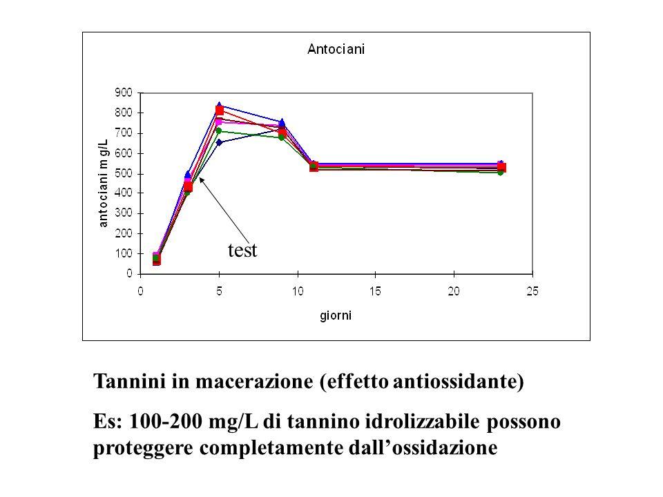 Tannini in macerazione (effetto antiossidante) Es: 100-200 mg/L di tannino idrolizzabile possono proteggere completamente dallossidazione test