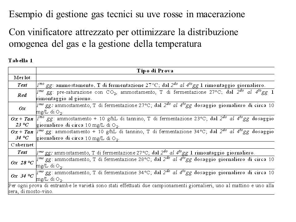 Esempio di gestione gas tecnici su uve rosse in macerazione Con vinificatore attrezzato per ottimizzare la distribuzione omogenea del gas e la gestion