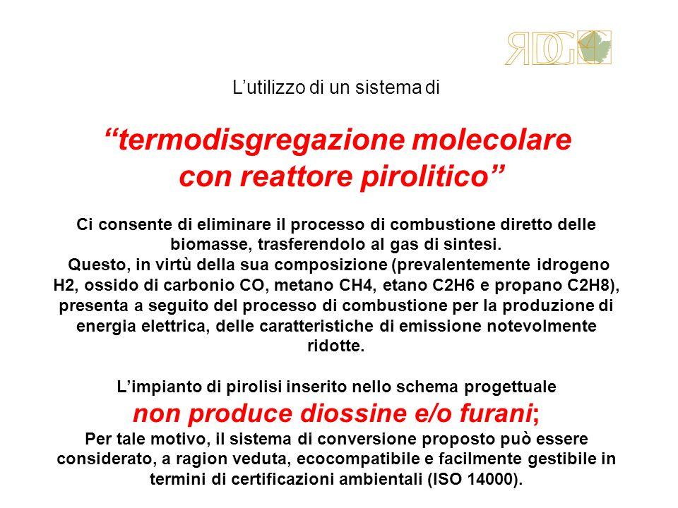 Lutilizzo di un sistema di termodisgregazione molecolare con reattore pirolitico Ci consente di eliminare il processo di combustione diretto delle bio
