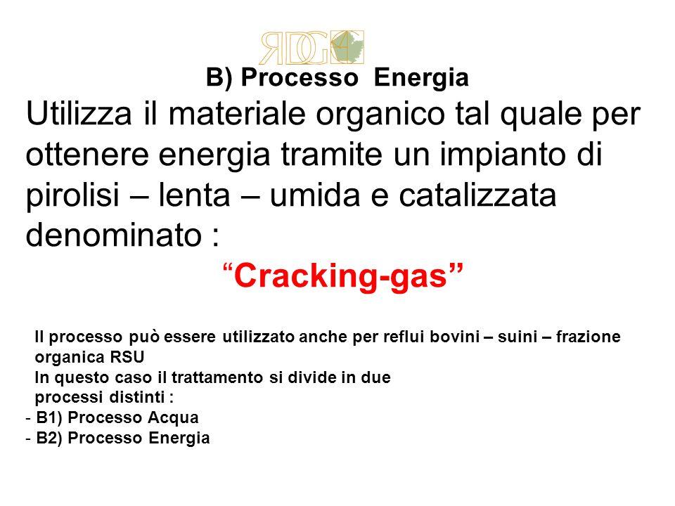B) Processo Energia Utilizza il materiale organico tal quale per ottenere energia tramite un impianto di pirolisi – lenta – umida e catalizzata denomi