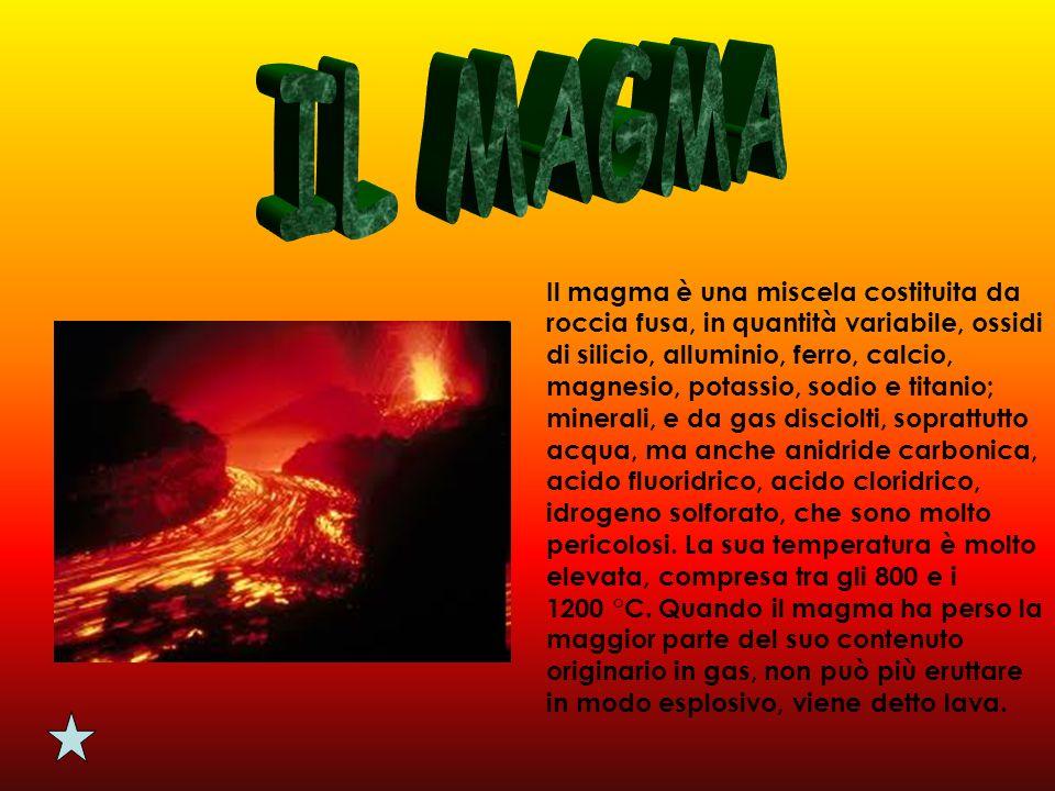Il magma è una miscela costituita da roccia fusa, in quantità variabile, ossidi di silicio, alluminio, ferro, calcio, magnesio, potassio, sodio e tita
