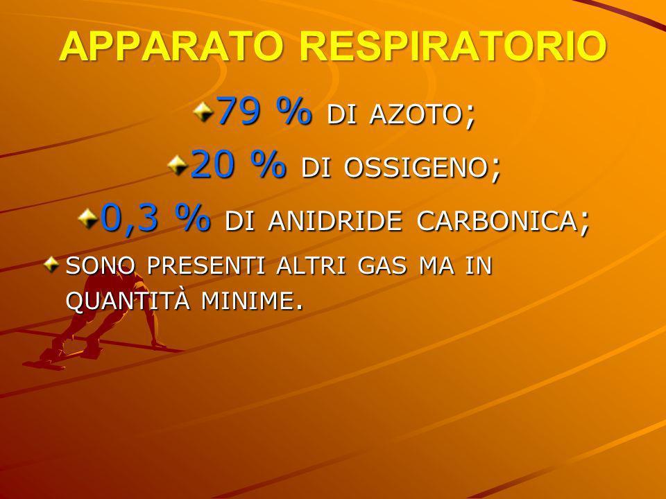 APPARATO RESPIRATORIO 79 % DI AZOTO ; 20 % DI OSSIGENO ; 0,3 % DI ANIDRIDE CARBONICA ; SONO PRESENTI ALTRI GAS MA IN QUANTITÀ MINIME.