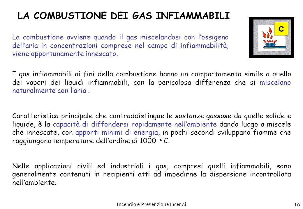 Incendio e Prevenzione Incendi 16 I gas infiammabili ai fini della combustione hanno un comportamento simile a quello dei vapori dei liquidi infiammab