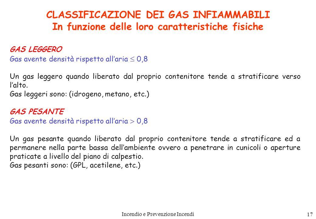 Incendio e Prevenzione Incendi 17 CLASSIFICAZIONE DEI GAS INFIAMMABILI In funzione delle loro caratteristiche fisiche GAS LEGGERO Gas avente densità r
