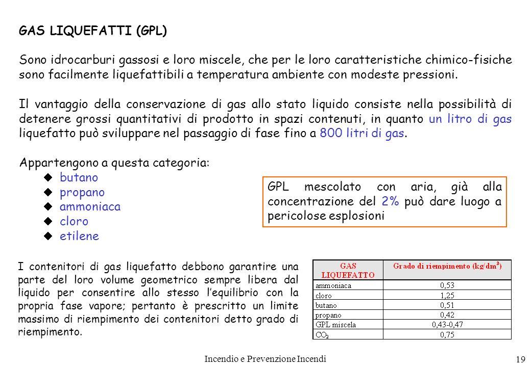 Incendio e Prevenzione Incendi 19 GAS LIQUEFATTI (GPL) Sono idrocarburi gassosi e loro miscele, che per le loro caratteristiche chimico-fisiche sono f