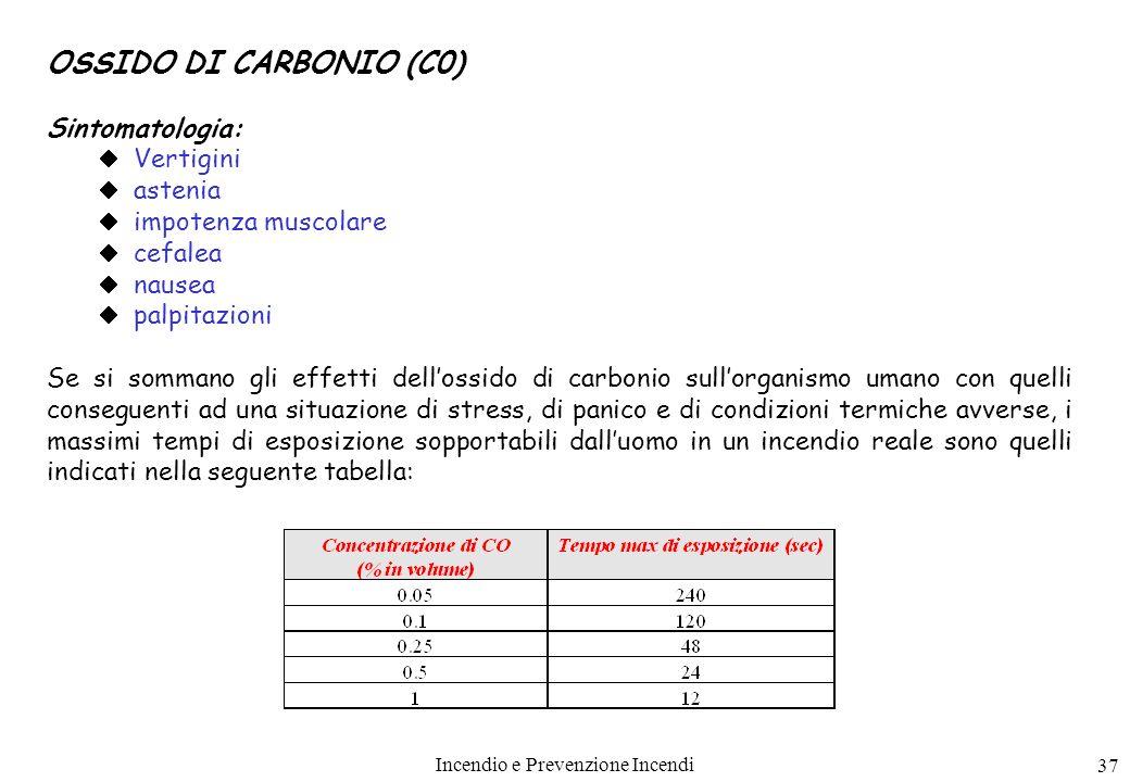 Incendio e Prevenzione Incendi 37 OSSIDO DI CARBONIO (C0) Sintomatologia: Vertigini astenia impotenza muscolare cefalea nausea palpitazioni Se si somm