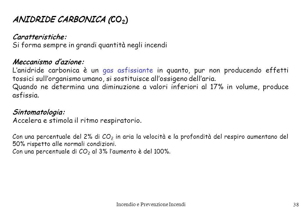 Incendio e Prevenzione Incendi 38 ANIDRIDE CARBONICA (CO 2 ) Caratteristiche: Si forma sempre in grandi quantità negli incendi Meccanismo dazione: Lan