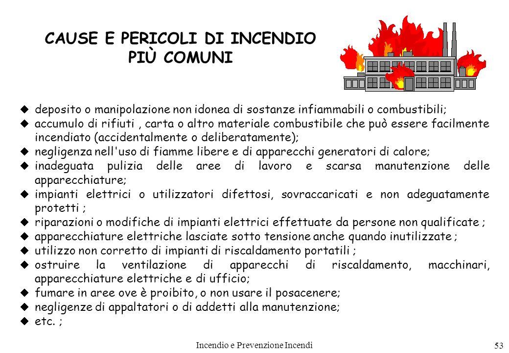 Incendio e Prevenzione Incendi 53 CAUSE E PERICOLI DI INCENDIO PIÙ COMUNI deposito o manipolazione non idonea di sostanze infiammabili o combustibili;