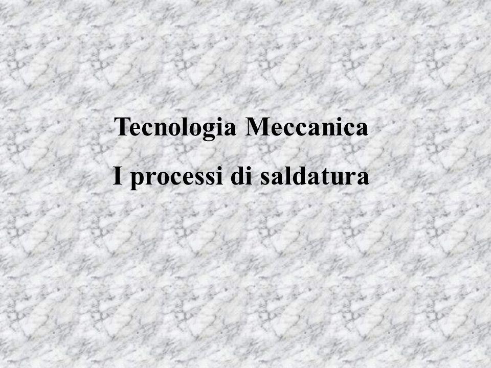 Tecnologia Meccanica I processi di saldatura