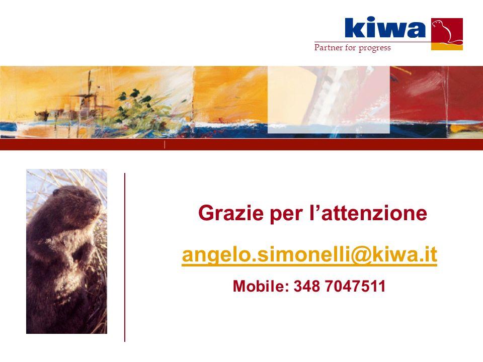 Partner for progress Grazie per lattenzione angelo.simonelli@kiwa.it Mobile: 348 7047511