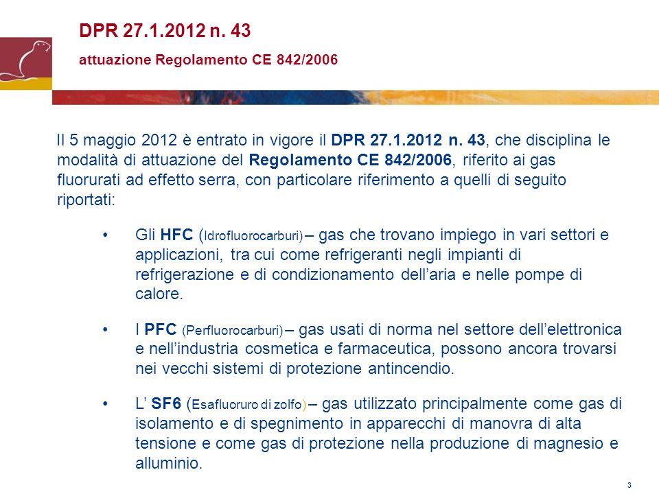 3 DPR 27.1.2012 n. 43 attuazione Regolamento CE 842/2006 Il 5 maggio 2012 è entrato in vigore il DPR 27.1.2012 n. 43, che disciplina le modalità di at