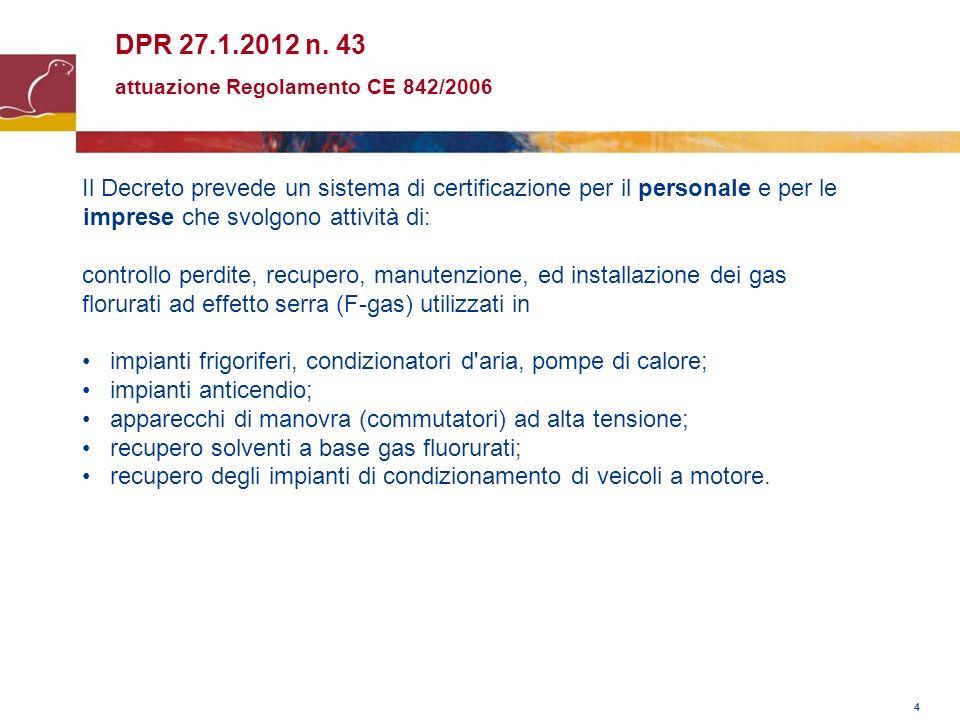 4 DPR 27.1.2012 n. 43 attuazione Regolamento CE 842/2006 Il Decreto prevede un sistema di certificazione per il personale e per le imprese che svolgon