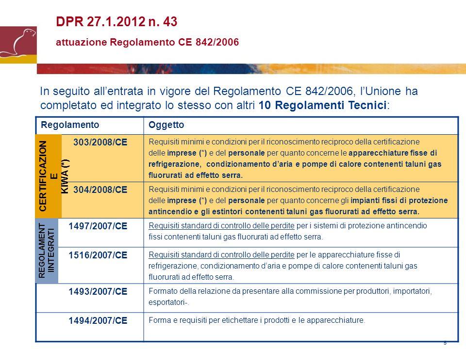 5 DPR 27.1.2012 n. 43 attuazione Regolamento CE 842/2006 In seguito allentrata in vigore del Regolamento CE 842/2006, lUnione ha completato ed integra