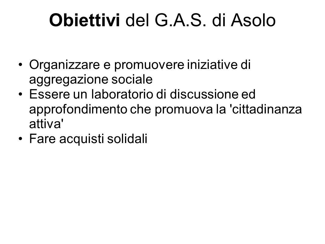 Obiettivi del G.A.S. di Asolo Organizzare e promuovere iniziative di aggregazione sociale Essere un laboratorio di discussione ed approfondimento che