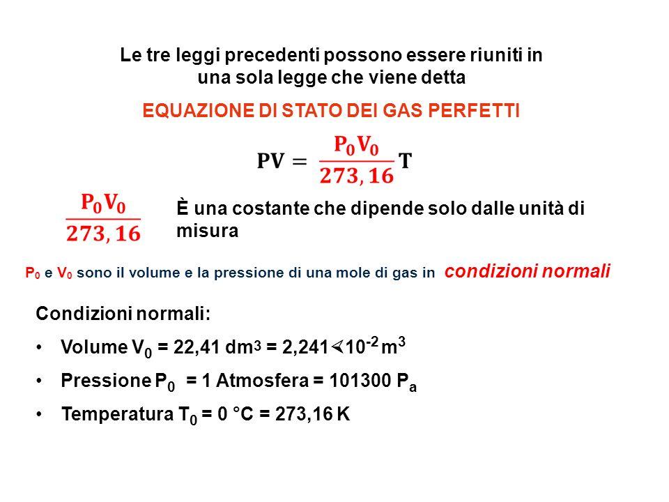 Le tre leggi precedenti possono essere riuniti in una sola legge che viene detta EQUAZIONE DI STATO DEI GAS PERFETTI È una costante che dipende solo d