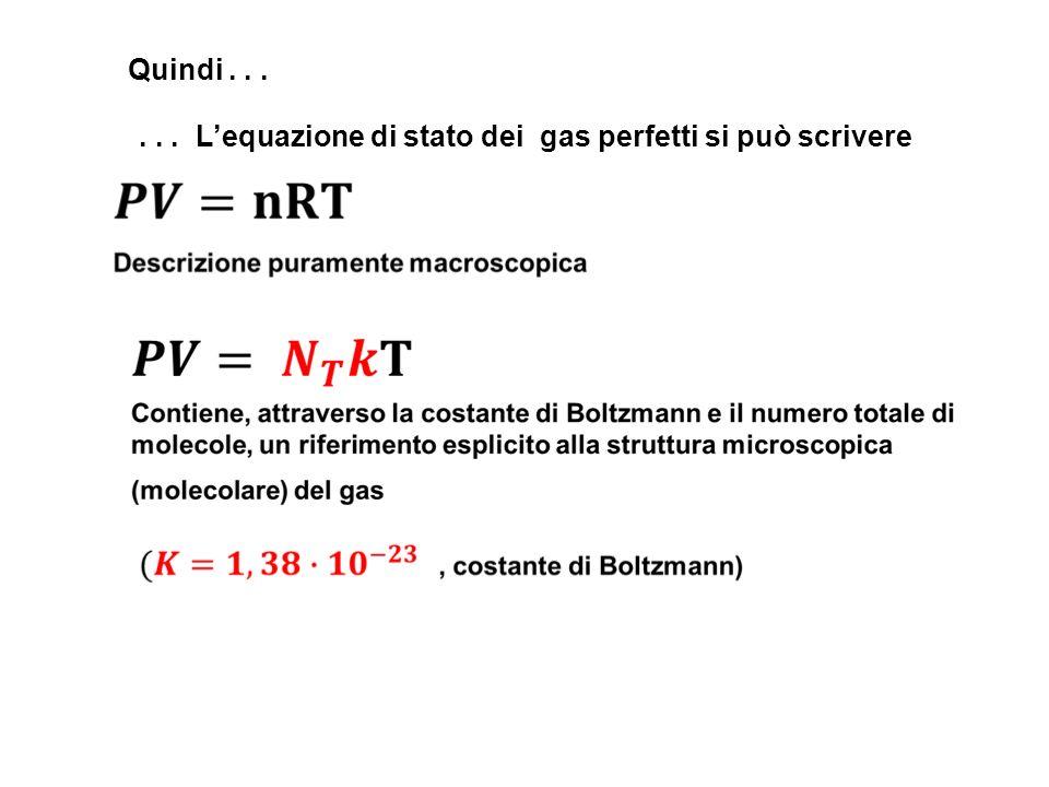 ... Lequazione di stato dei gas perfetti si può scrivere