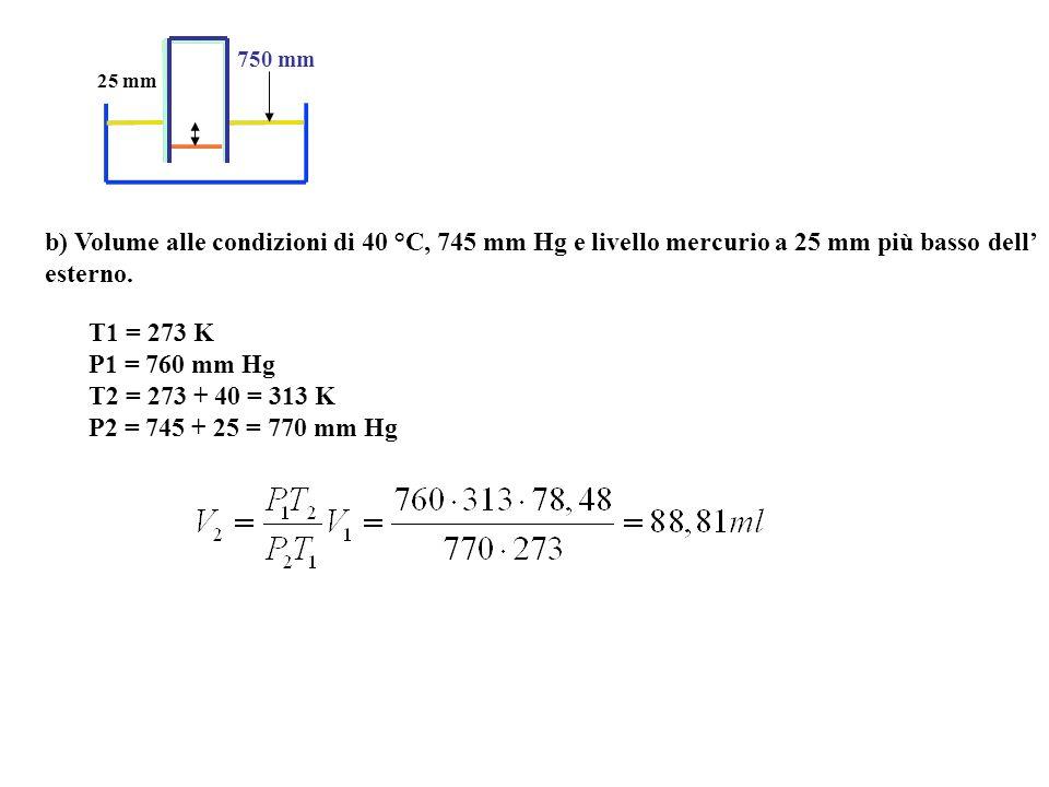 b) Volume alle condizioni di 40 °C, 745 mm Hg e livello mercurio a 25 mm più basso dell esterno.