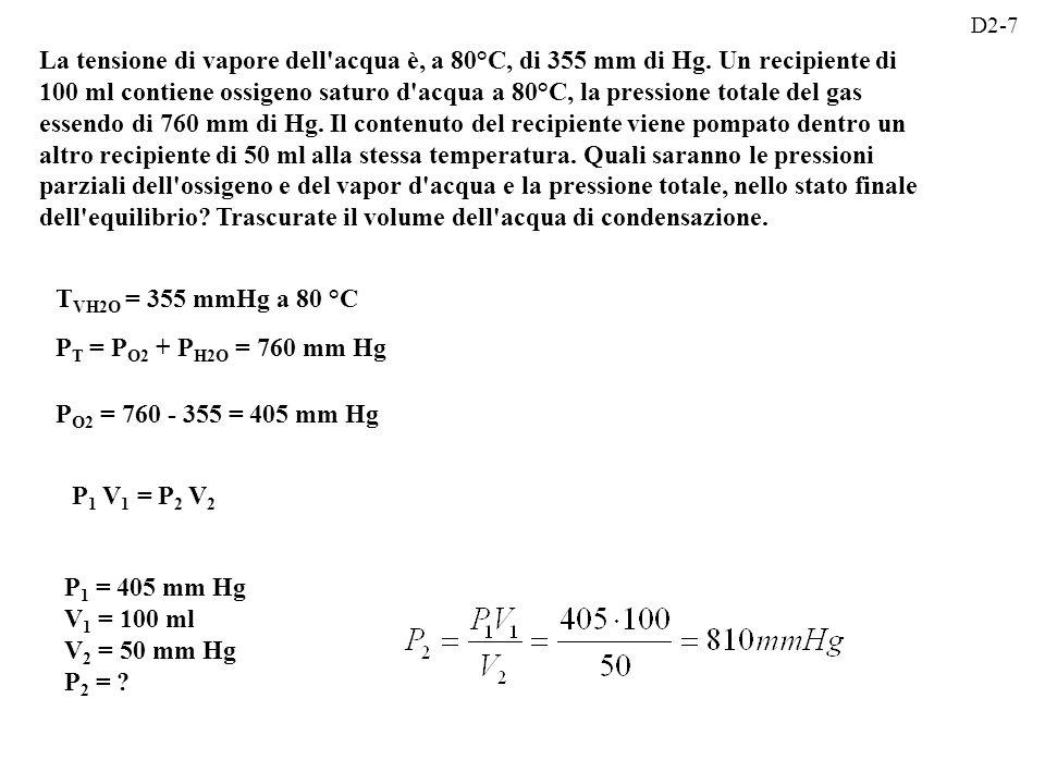 La tensione di vapore dell acqua è, a 80°C, di 355 mm di Hg.