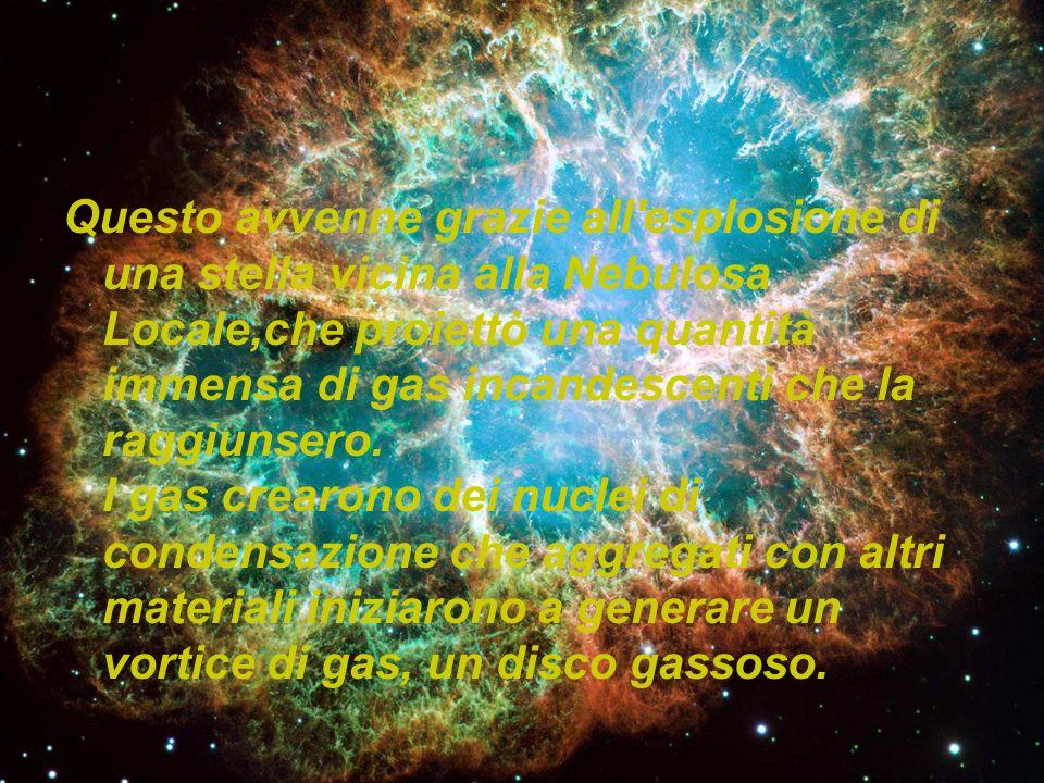 Questo avvenne grazie all'esplosione di una stella vicina alla Nebulosa Locale,che proiettò una quantità immensa di gas incandescenti che la raggiunse