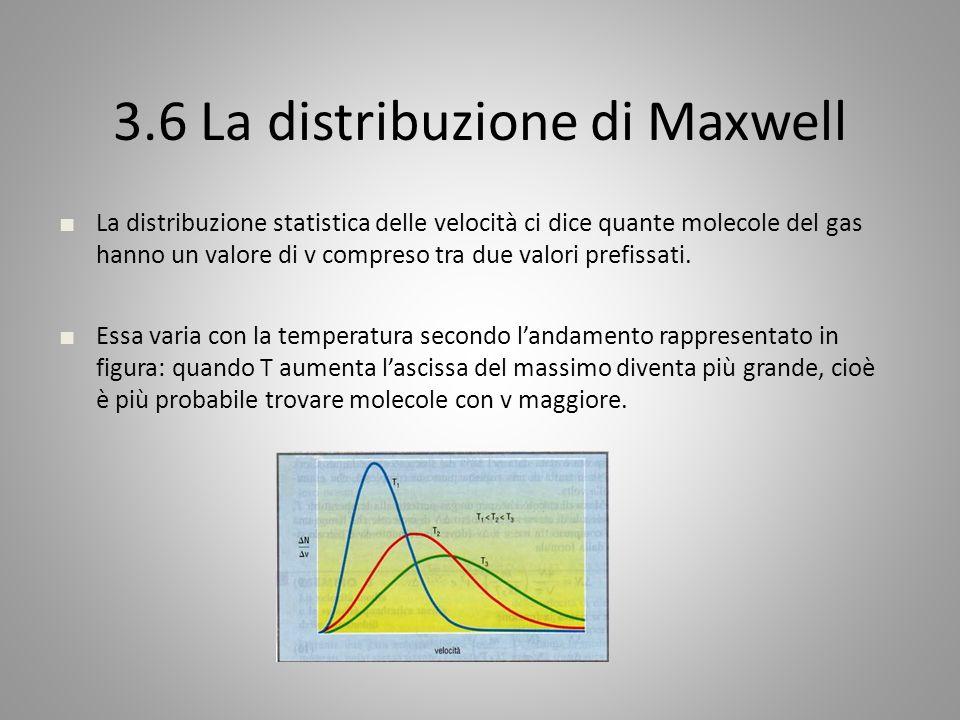 3.6 La distribuzione di Maxwell La distribuzione statistica delle velocità ci dice quante molecole del gas hanno un valore di v compreso tra due valori prefissati.