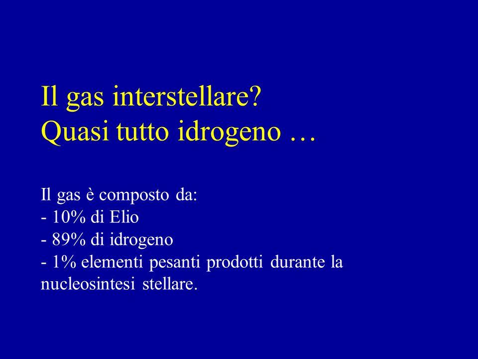 Il gas interstellare? Quasi tutto idrogeno … Il gas è composto da: - 10% di Elio - 89% di idrogeno - 1% elementi pesanti prodotti durante la nucleosin