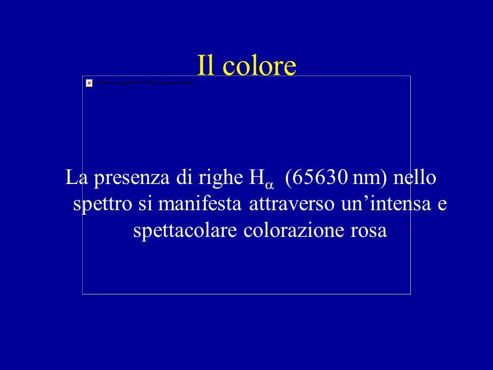 Il colore La presenza di righe H (65630 nm) nello spettro si manifesta attraverso unintensa e spettacolare colorazione rosa