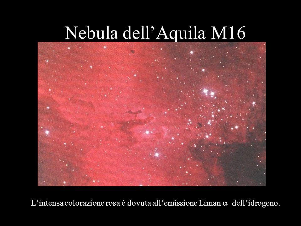 Nebula dellAquila M16 Lintensa colorazione rosa è dovuta allemissione Liman dellidrogeno.